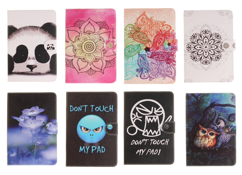 Fashion Flower Cartoon Panda Elephant Leather Stand Flip Smart Case for Samsung Galaxy Tab S2 8.0 T710 T715 Tablet Book Cover