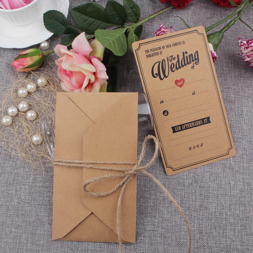 10 Stücke Vintage Kraft Hochzeits Einladungen Karten Mit Umschläge Gruß  Einladungskarte Für Hochzeit Dekoration Festliche