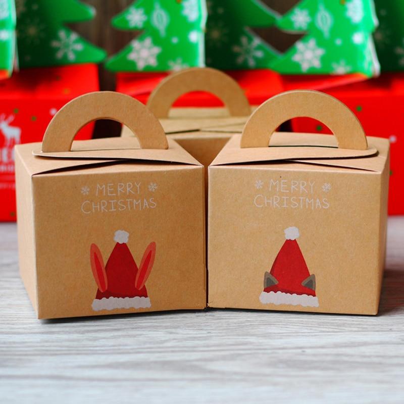 Christmas Gift Packing: 10pcs/lot Merry Christmas Kraft Paper Candy Box Portable