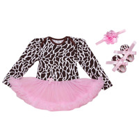 3PCs Per Set Newborn Baby Girls Tutu Dress Abstract Pattern Infant Outfit Leggings Shoes Headband 0
