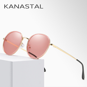 Image 4 - אופנה עגול מקוטב משקפי שמש נשים בציר אלגנטי נהיגה Eyewear מתכת מסגרת נקבה Oculos דה סול UV400