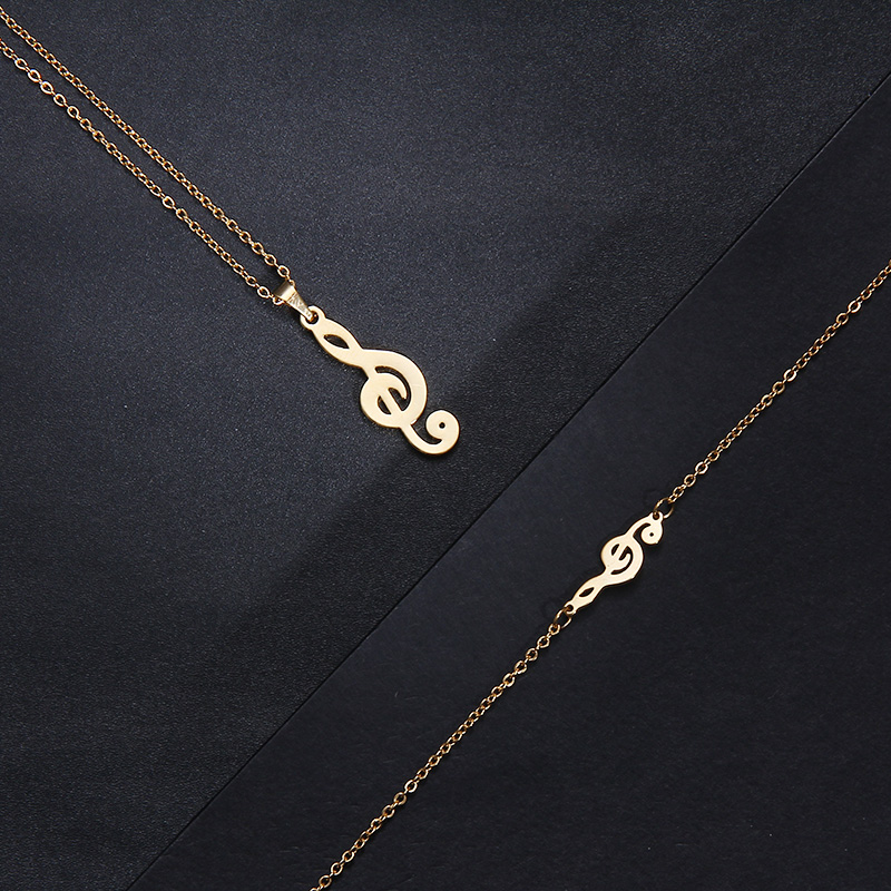 Stainless Steel Music Jewelry Set Necklace Bracelet Earring Treble Clef IMG_1963