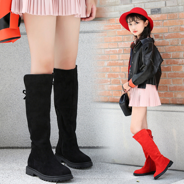 4fc6aeb1fa5 Girls  Boots 2018 New Winter Female Children Suede High Boots Princess Shoes  Kids Solid Bow