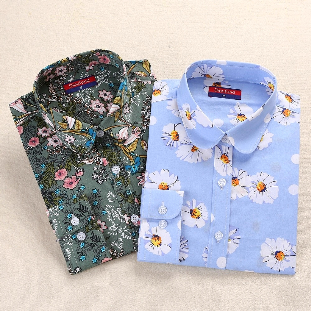 Dioufond Vintage Bluser Women Print Shirts Langermet Cotton Topper Ladies Floral Blusas Plus Størrelse 5XL Fashion Female Clothing