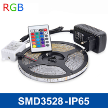 RGB LED Strip Light 5m SMD3528 IP65 Waterproof Flexible Lights LED Ribbon Tape Lamp DC12V +IR Remote Controller,Power Adapter 2A