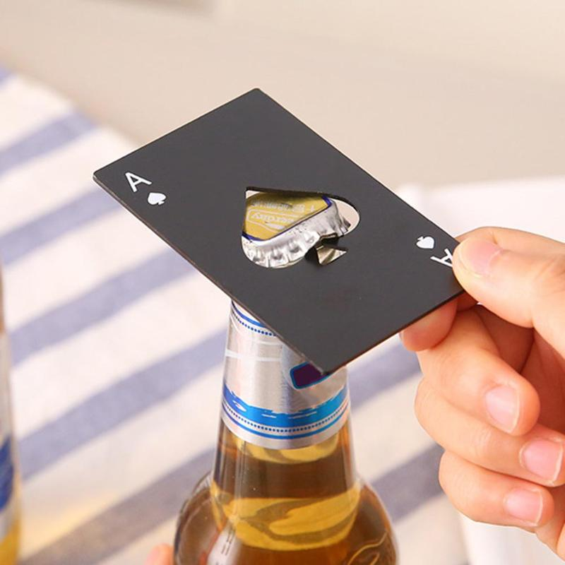 Us 0 98 18 Off Poker Card Beer Bottle Opener Pocker Creative Stainless Steel Wine Opener Black Silver Party Decor Bar Accessories In Openers From