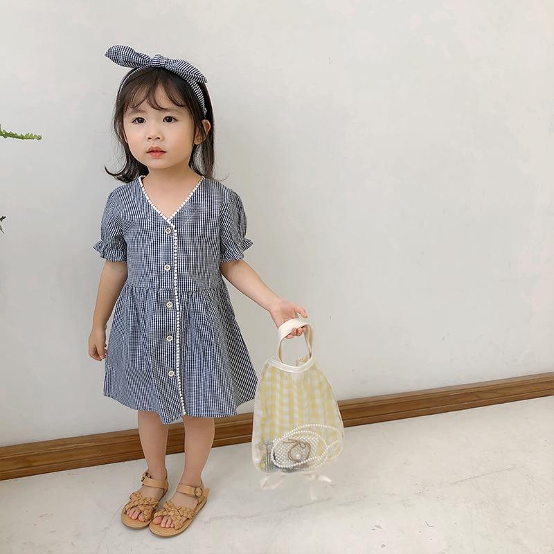2019 primavera nova chegada estilo coreano algodão xadrez manga curta princesa vestido com bandana para bonito doce bebê meninas
