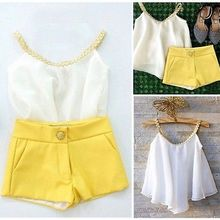 Fashion Girls Outfits Baby Kids Clothes 2pcs Set Chiffon Top Shirt+ Yellow Pants