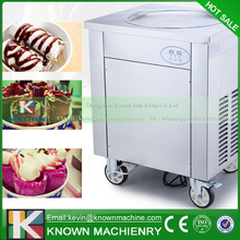 New design! Defrost by pedal plate! Single round pan fried ice cream roll machine (450 mm diameter)
