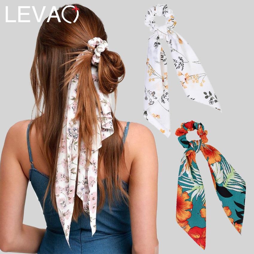 Levao Flower Print Hair Scarf Bow Scrunchies Ponytail Headband For Women Hair Accessories Bowknot Elastic Hair Rope Hairbands