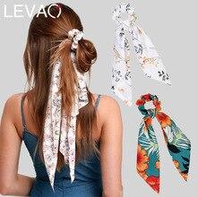 Levao Цветочный Принт шарф для волос бант резинки для волос конский хвост повязка для женщин аксессуары для волос с бантом эластичная резинка для волос повязки для волос