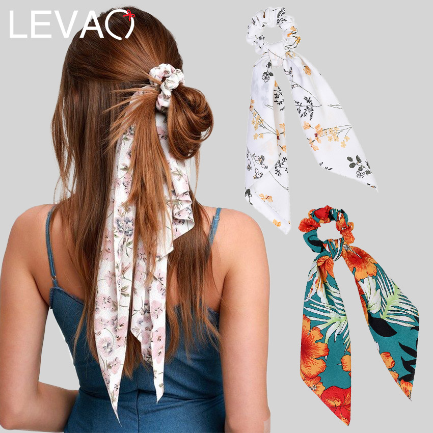 Levao Flower Print Hair Scarf Bow Scrunchies Ponytail Headband For Women Hair Accessories Bowknot Elastic Hair Rope Hairbands