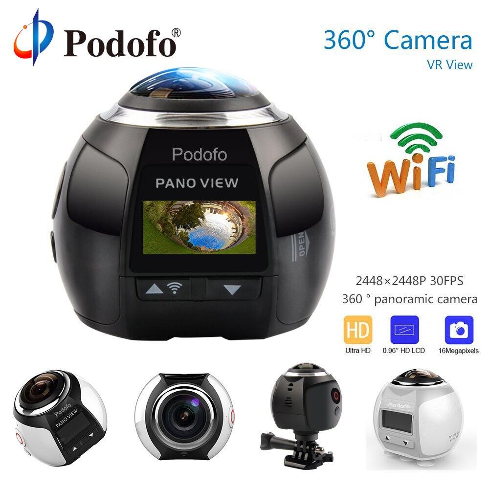 Podofo 360 Câmera HD Ultra Mini Câmera Panorâmica Câmera de Ação WI-FI Câmera de Esportes Condução 16MP 3D VR Video Cam À Prova D' Água 30 m