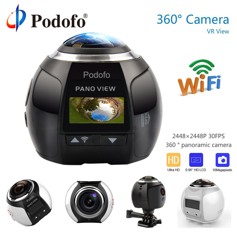 Podofo 360 cámara HD Ultra Mini cámara panorámica WIFI 16MP 3D deportes cámara de conducción VR de acción de la cámara de vídeo cámara resistente al agua 30 m
