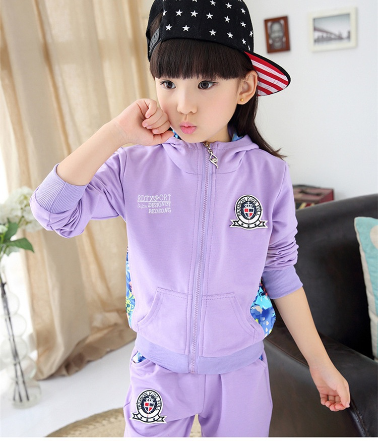 ФОТО New autumn/winter children's clothing sets girl's cute sport clothes fit for 100cm to 150cm height coat and trouser girl's sets