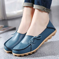 2016 Genuine Leather Women Flats Shoe Fashion Casual Lace-up Soft Loafers Spring Autumn Moccasins Female Driving Shoes Wholesale