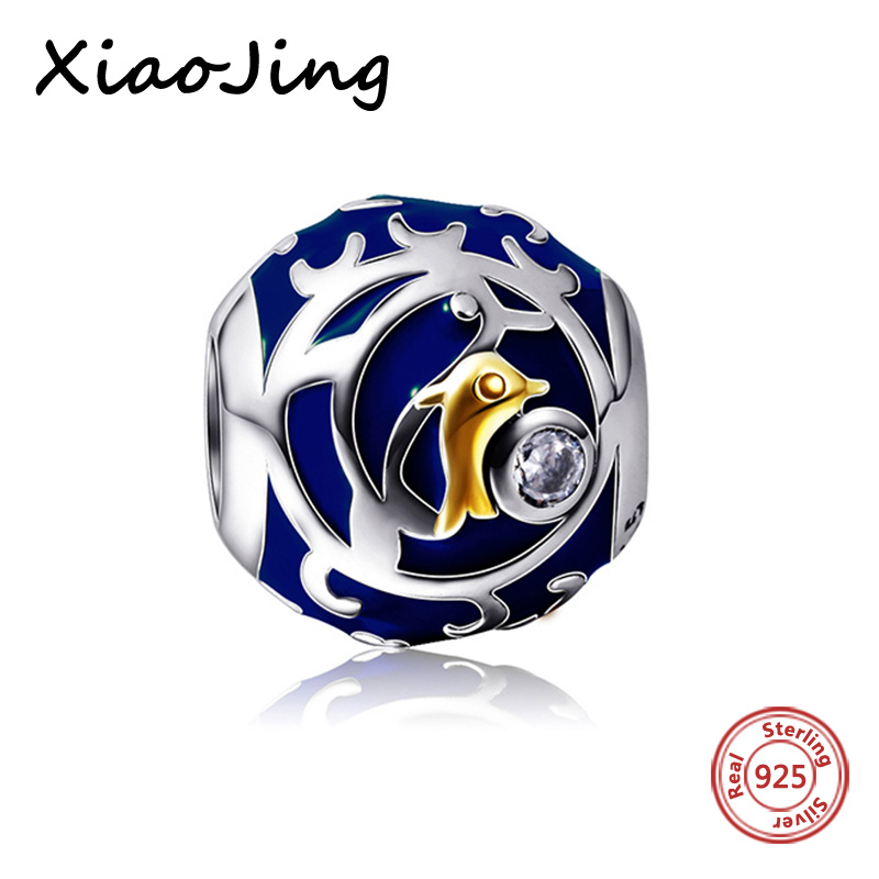 Original pandora Bracelets Flower round Dolphin charms silver 925 beads blue color Enamel Jewelry Making for women Gifts in Beads from Jewelry Accessories