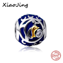 Original European Bracelets Flower round Dolphin charms silver 925 beads blue color Enamel Jewelry Making for women Gifts