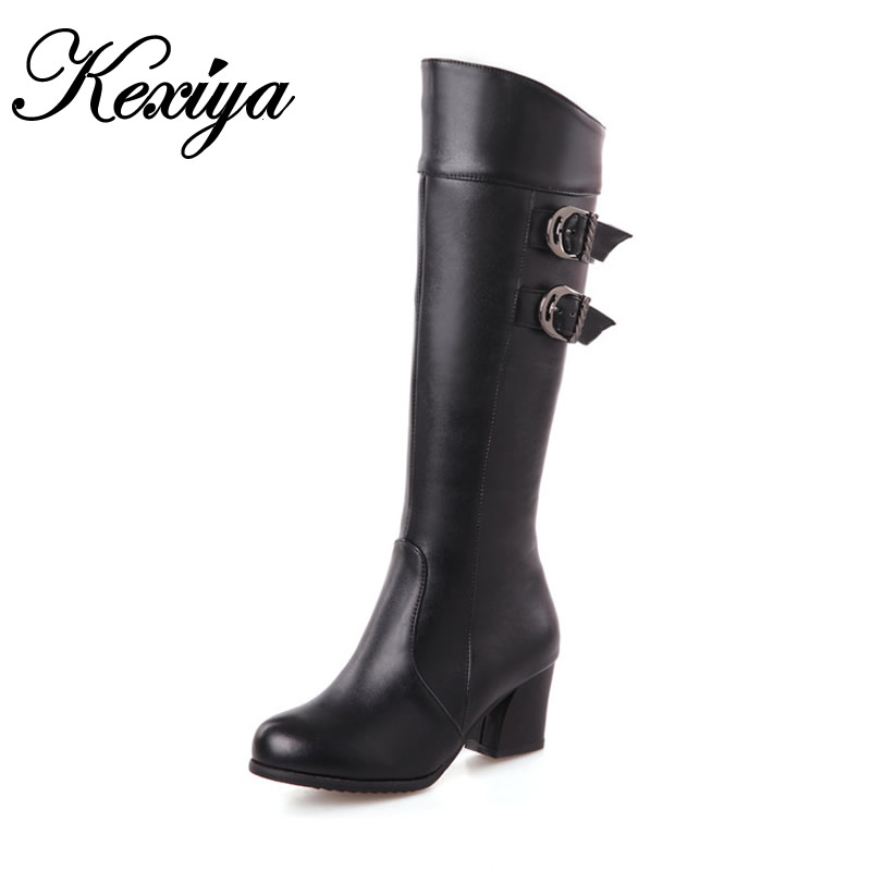 2015 Fashion winter women botas Big size 30-52 solid PU leather Round Toe high heel shoes warm Buckle decoration Knee-High boots 2016 new big size 34 43 winter women lace botas sexy round toe high heel shoes solid pu white over the knee boots au 703 5
