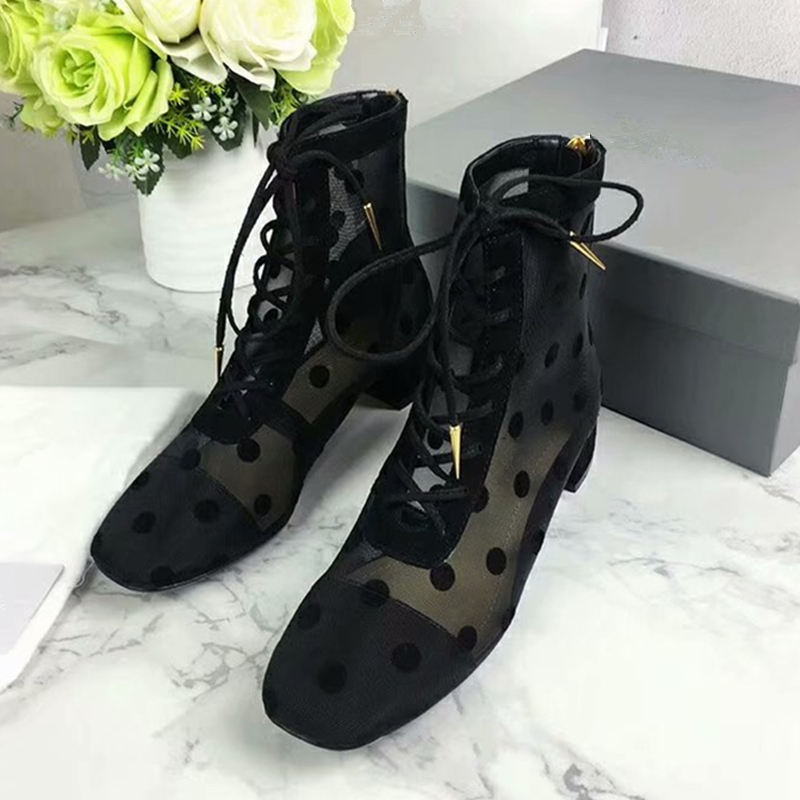 Sexy Lace Women Black Ankle Boots Fashion Printed Wave Point Lace Up Square Toe Summer Boots Runway Gladiator Party Wedding Shoe sexy women s slimming printed lace up corset