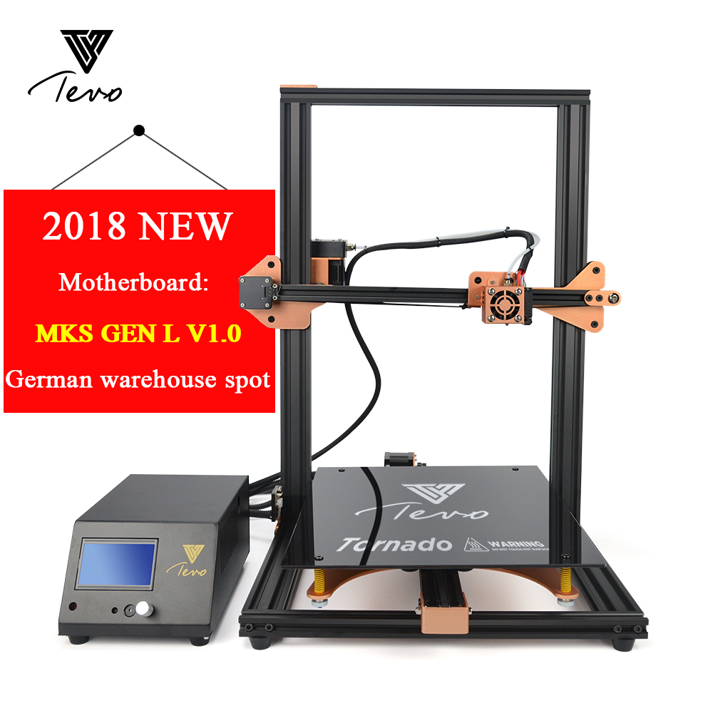 цена на 2018 Newest TEVO Tornado 3D Printer Fully Assembled Aluminium Extrusion 3D Printing Machine Impresora 3d Titan Extruder V1.0