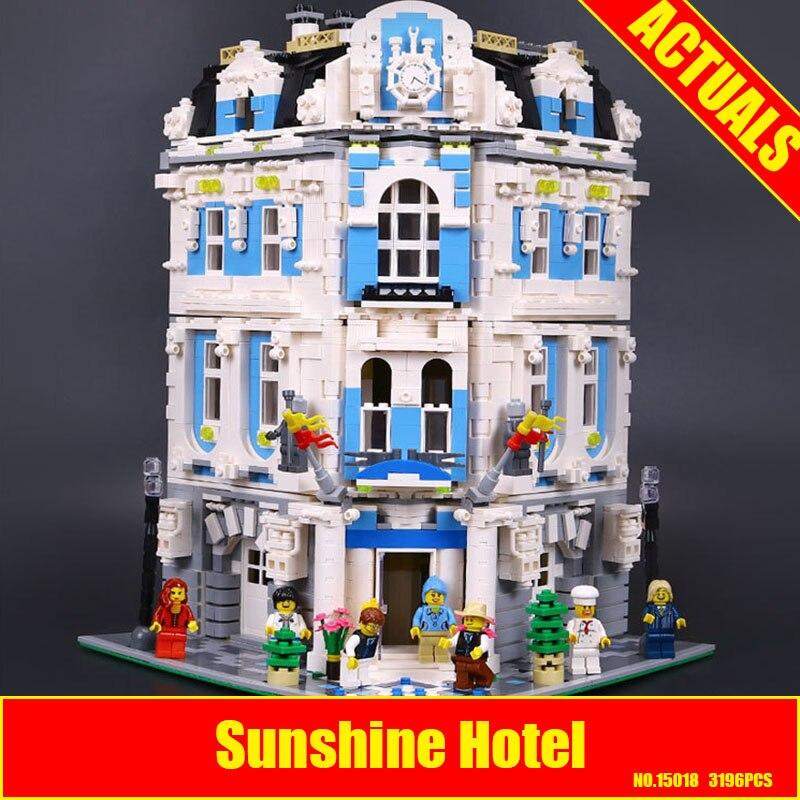 New 3196pcs Lepin 15018 MOC City Series The Sunshine Hotel Set Building Blocks Bricks Educational Toys DIY Children Days Gift