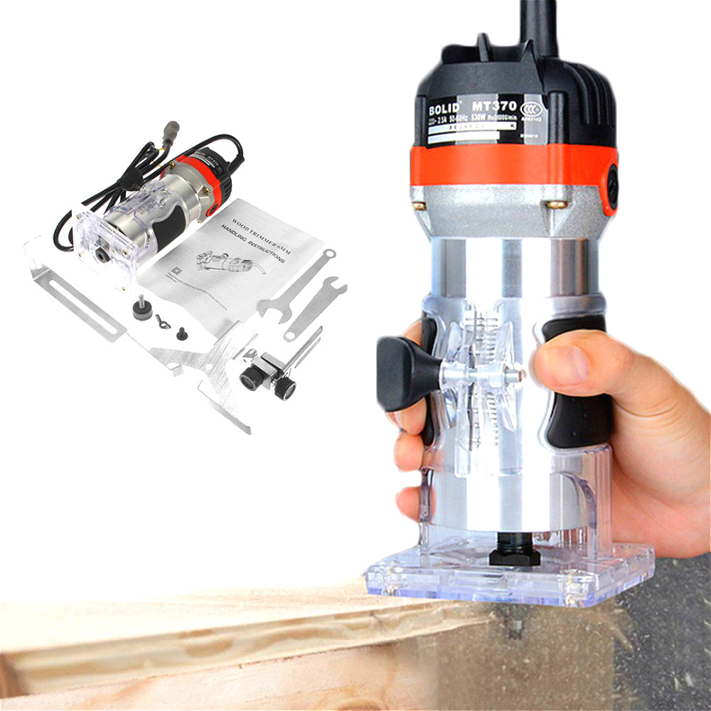 1/4'' Hand Electric Trimmer 530W 220V 35000RPM Wood Laminator Router Tool Set Copper Wire Drilling Hole Trimmer For Woodworking