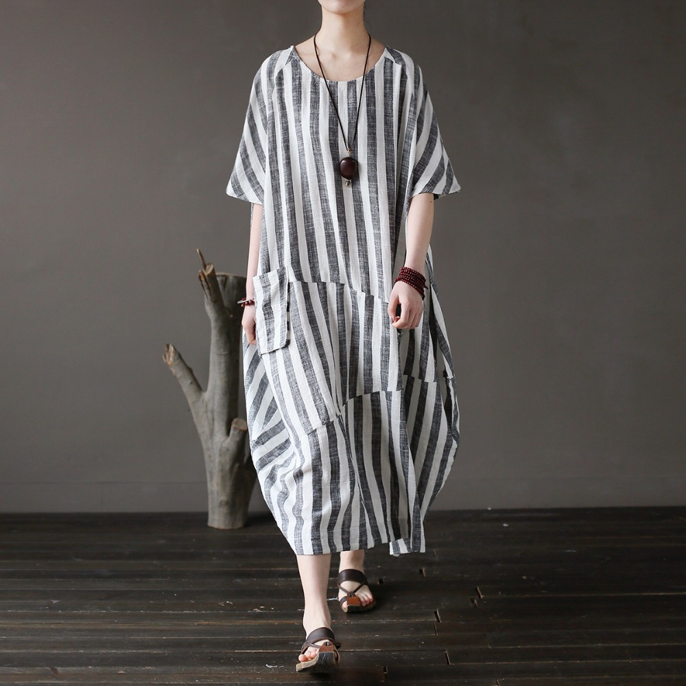 SCUWLINEN Vestidos 2019 Women Summer Dress Vintage Spliced Stripes Plus Size Loose Long Linen Dress Casual