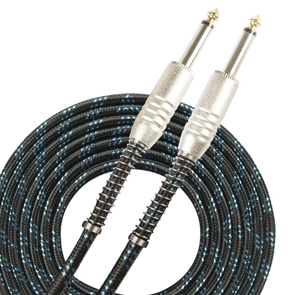 SUNYIN Cable de guitarra eléctrica negro 3 m y 6 m Cable de Audio dos clavijas rectas con protección de flexión accesorios de piezas de guitarra