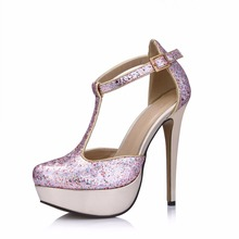 Women Super High Heels Platform Glitter Bling Round Toe Woman Sexy Dress Wedding Prom Wine Party Shoes Sandals Pumps 3463SL-i стоимость