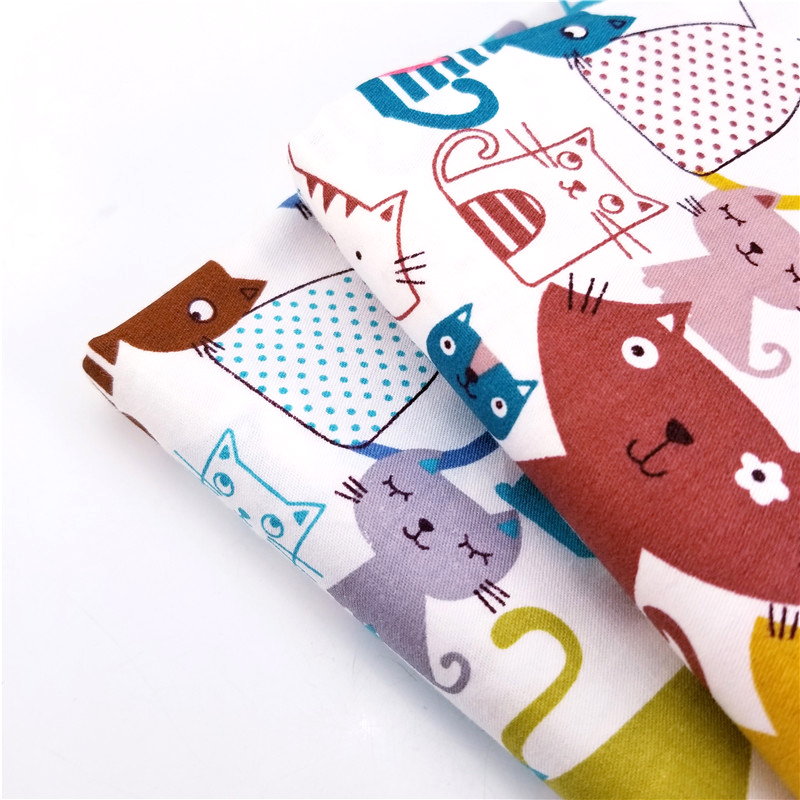 Cute Cats Printed 100% Pure Cotton Twill Fabric For Patchwork Sewing Handmade DIY Quilting Crafts Home Textile Kids & Child