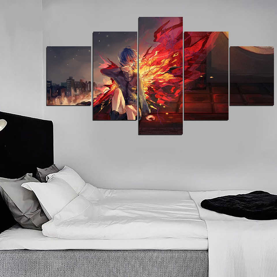 Modular Pictures Canvas Prints Painting Wall Art Anime Tokyo Ghoul Touka Kirishima Poster Home For Living Room Decoration Frame