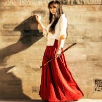 2015 England Style Girls Skirts Vintage Skirt High Waisted Elastic Skirts Womens Natural Cotton Linen Vintage