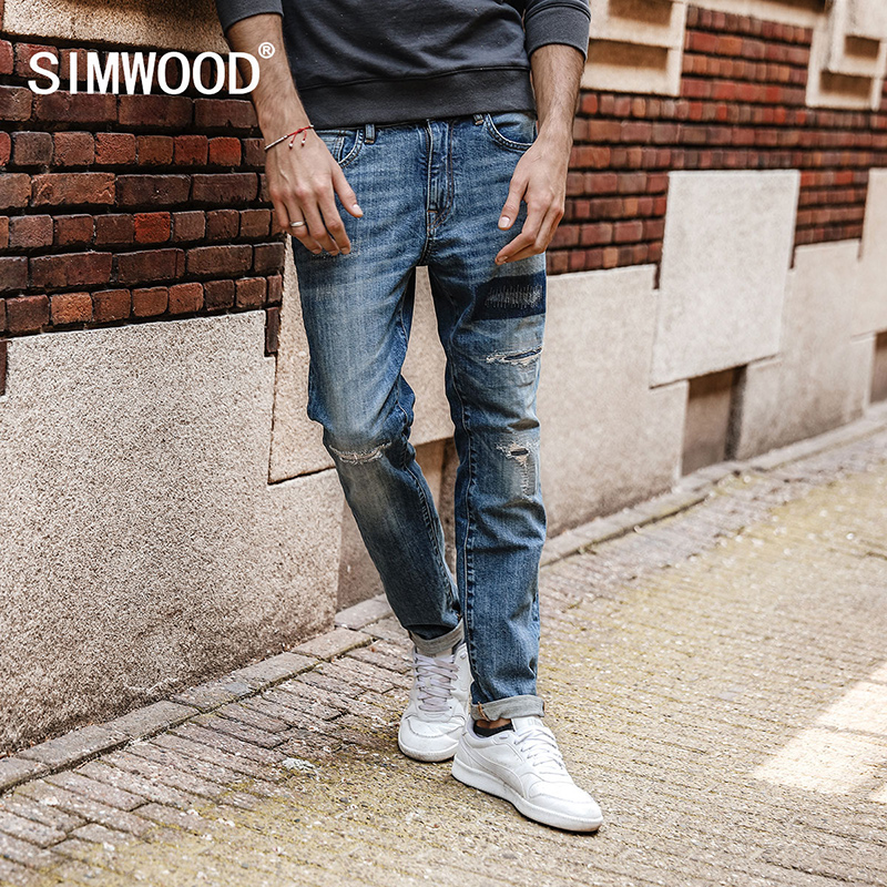 SIMWOOD 2018 Autumn New Jeans Men Hole Ripped Slim Fit Denim Trousers Biker Jeans Skinny Brand Clothing High Quality NC017031 new 2017 brand men s jeans casual straight hole men jeans men denim trousers biker jeans free shipping