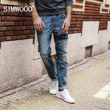 SIMWOOD 2018 spring New Jeans Men Hole Ripped Slim Fit Denim Trousers Biker Jeans Skinny Brand Clothing  High Quality NC017031