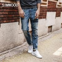 SIMWOOD 2017 Autumn New Jeans Men Hole Ripped Slim Fit Denim Trousers Biker Jeans Skinny Brand