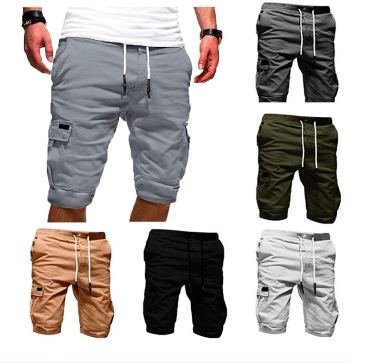 Cargo Shorts Men Summer Beach Short Pants Men's Casual Sportwear Elastic Solid Pockets Shorts Homme Plus Size M-4XL MY107