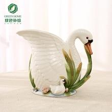 ceramic cerative white swan flowers vase pot home decor crafts room weeding decorations handicraft porcelain figurines