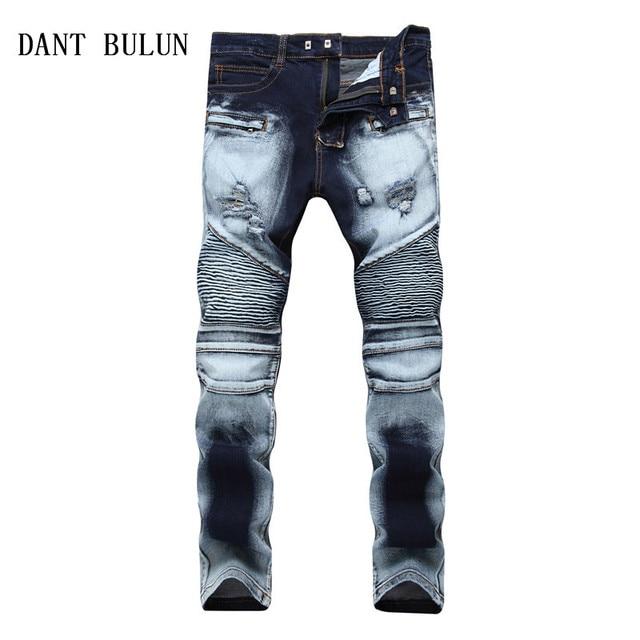 90bb8ae98e02 DANT BULUN Mens Ripped Jean Distressed Slim Elastic Jeans Slim Straight  Biker Denim Hip Hop Pants Plus Size 28-42 Trousers