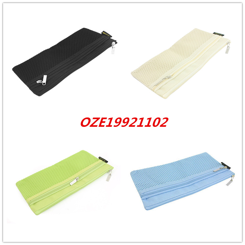 1pcs Two Pockets Canvas Zipper Closure Pen File Bag Document Holder Beige Green Blue Black