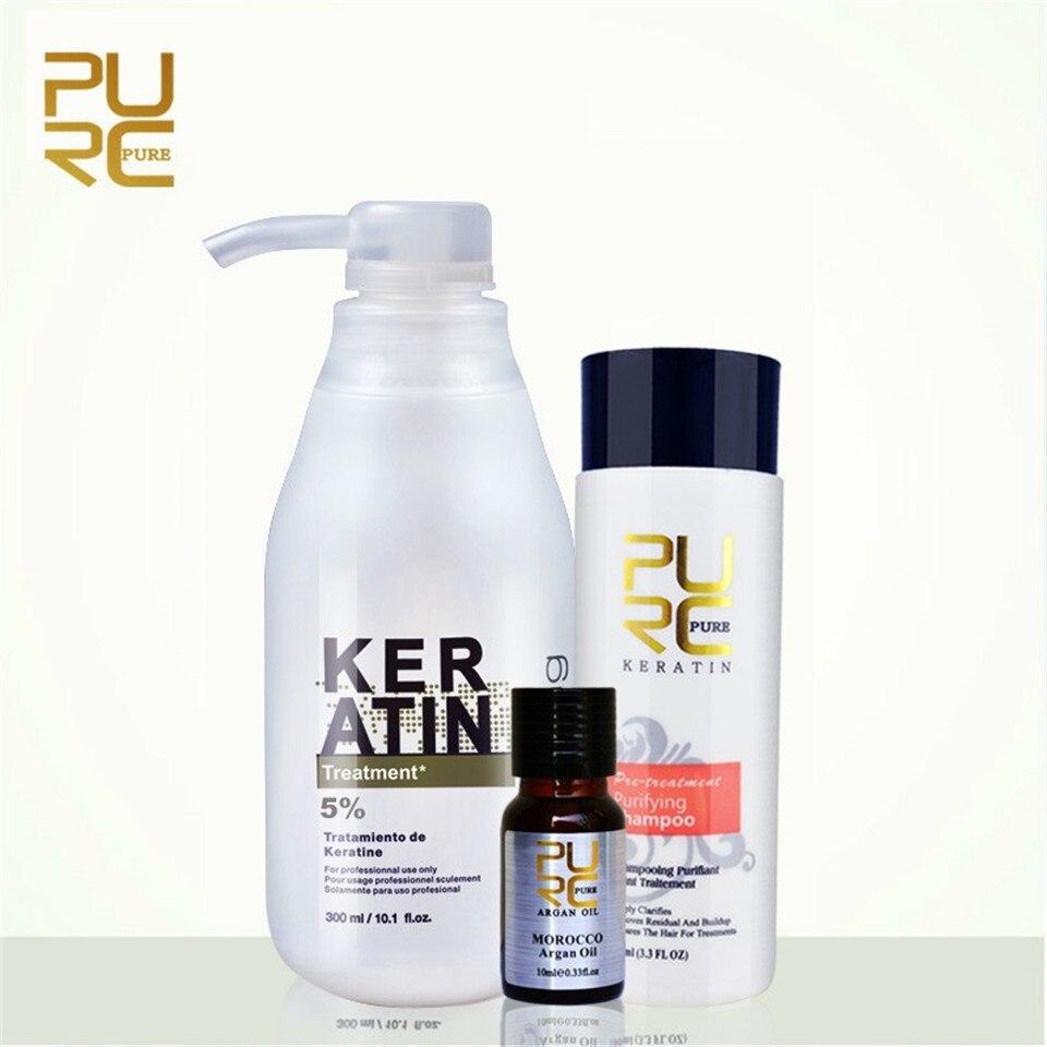 3PCS/lot PURC 5% Formalin Straightening Brazilian Hair Keratin Treatment 300ml +100ml Purifying Shampoo + 10ml Morocco Argan Oil