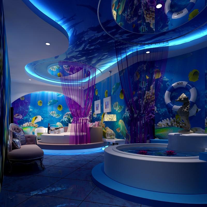 Beibehang 3D Personalized Custom Total Athlete Bedroom Ocean Theme Room Restaurant KTV Large