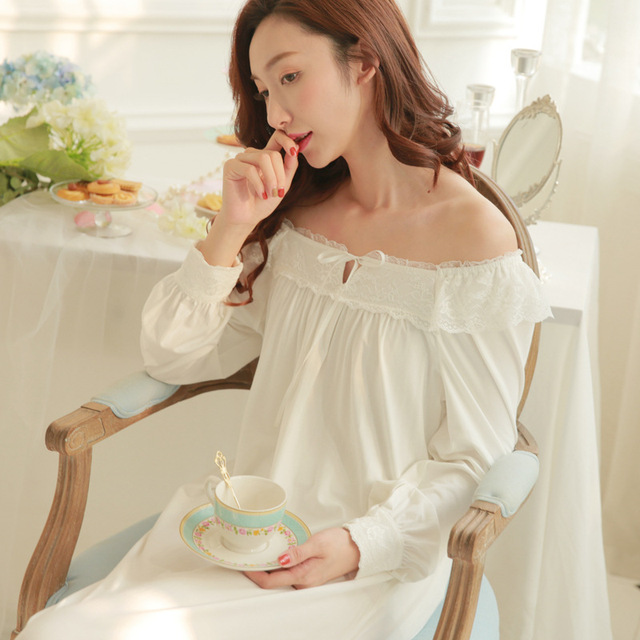 2c16cda1a Soft Modal Gauze Lace Ladies Home Sleeping Dress Princess Elegant ...