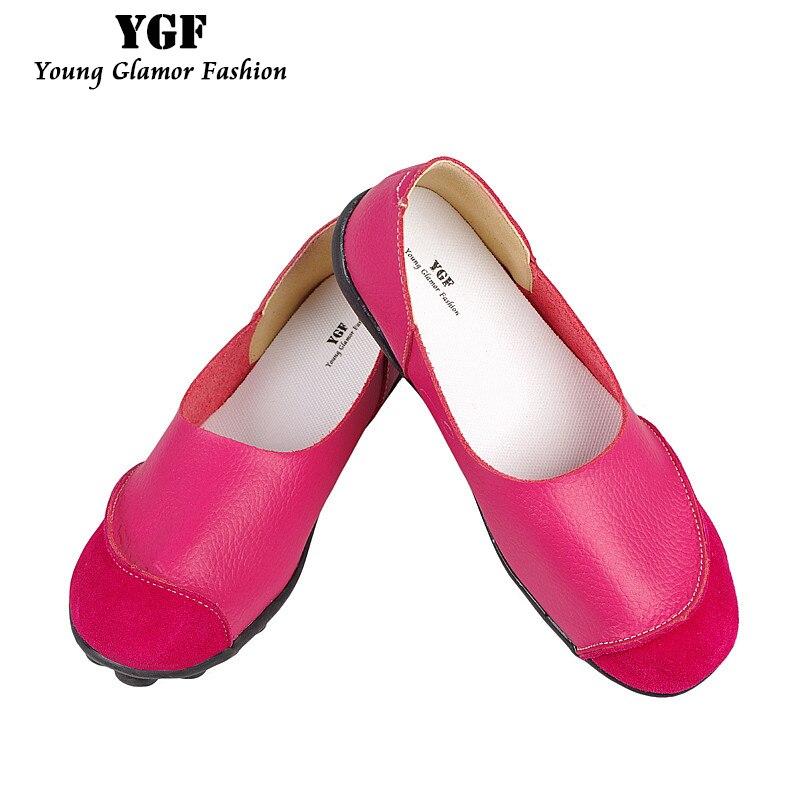 Ballet Womens Pisos Loafers YGF 2017 Primavera de Cuero Suave Plana Zapatos Slip