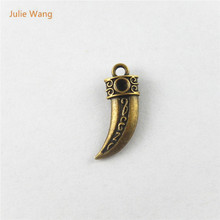 Julie Wang 20PCS Antique Bronze Alloy Simulated Wolf Tooth Charms Pendants Suspension Necklace Jewelry Finding Accessory 51458
