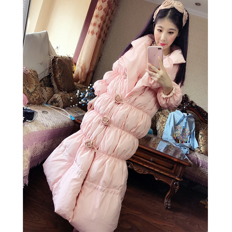 2017 small pink princess pure down cotton thermal long design down cotton coat  long coat princess 132502 pink