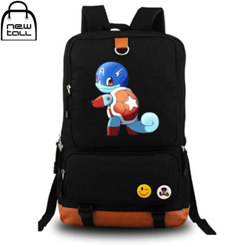 ФОТО [NEWTALL] 2017 New Anime Pokemon Squirtle Turtle Captain Black Backpack School Shoulder Bag Cosplay 16080506