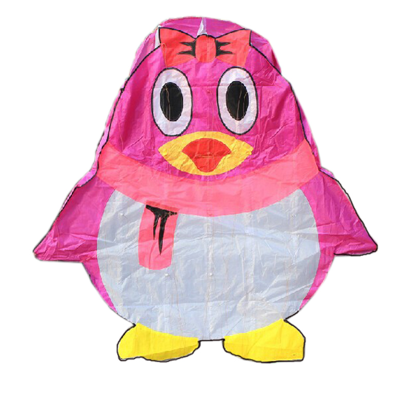 Professional Outdoor Fun Sports Power Cartoon Software QQ Penguin Kite With String Good Flying