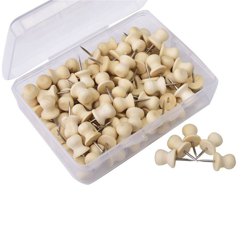 Wood Push Pins,Decorative Thumb Tacks Used On Cork Boards Or Maps, Pack Of 100PCS Wood Color