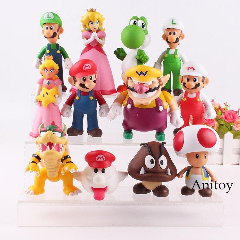 Super Mario Bros Wii Luigi crapaud Wario Mario Bowser princesse pêche Boo Goomba Yoshi figurine jouet pour enfants 12 pièces/ensemble
